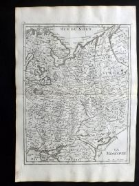 Le Rouge 1748 Antique Map. La Moscovie. Russia, Siberia, part of Lithuania
